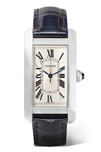Cartier | Tank Américaine 22.6mm medium stainless steel and alligator watch | NET-A-PORTER.COM
