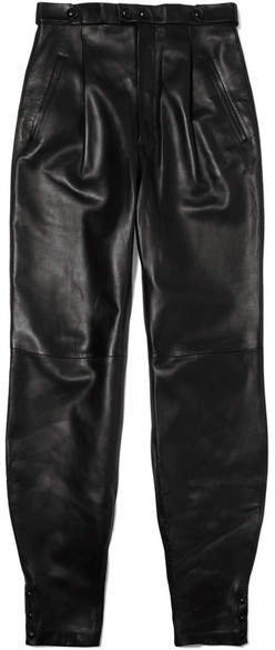 Leather Tapered Pants - Black