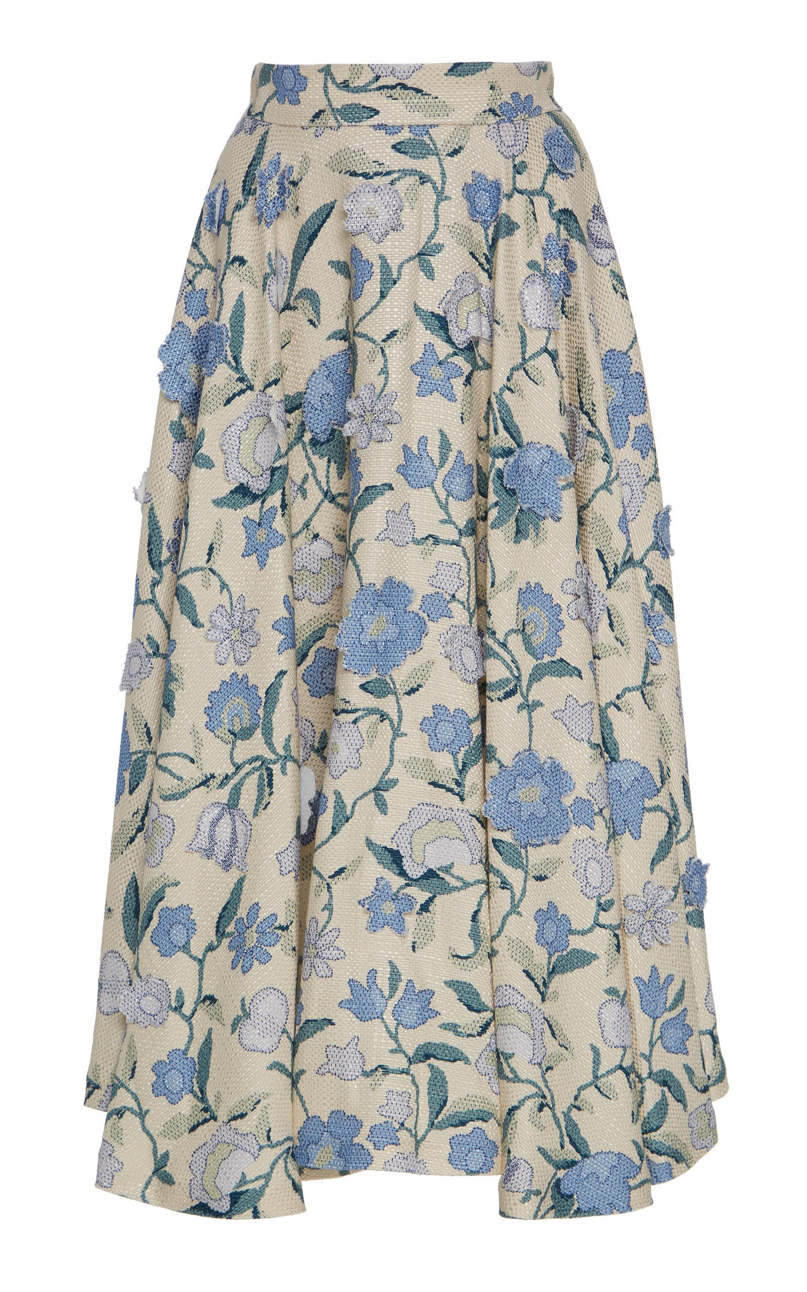 Luisa Beccaria Floral Midi Skirt