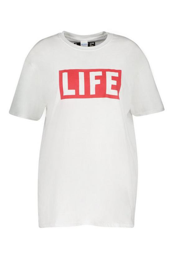 Plus Life Slogan T-Shirt | Boohoo White