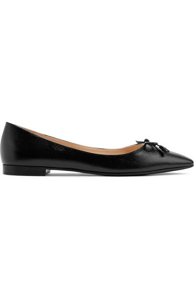 Prada | Textured-leather ballet flats | NET-A-PORTER.COM