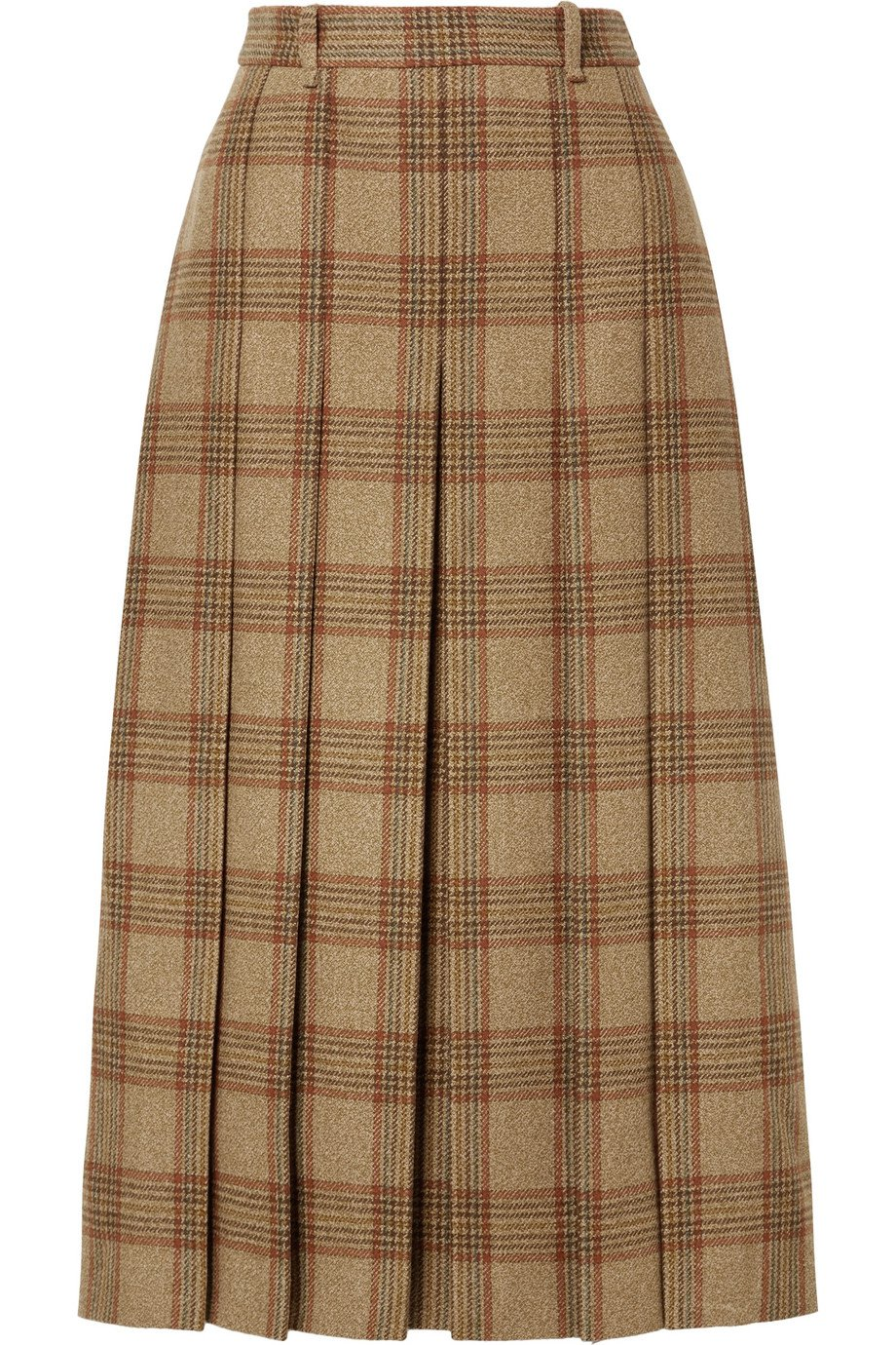Gucci | Belted checked wool midi skirt | NET-A-PORTER.COM
