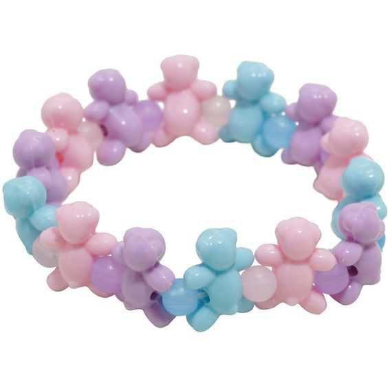 Blackheart Pastel Teddy Bear Stretch Bracelet