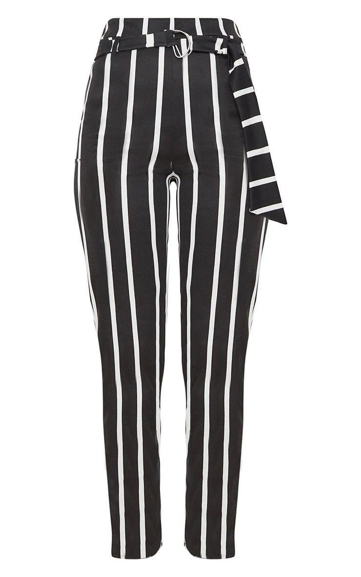 Black Monochrome Stripe Belted Cigarette Pants | PrettyLittleThing USA