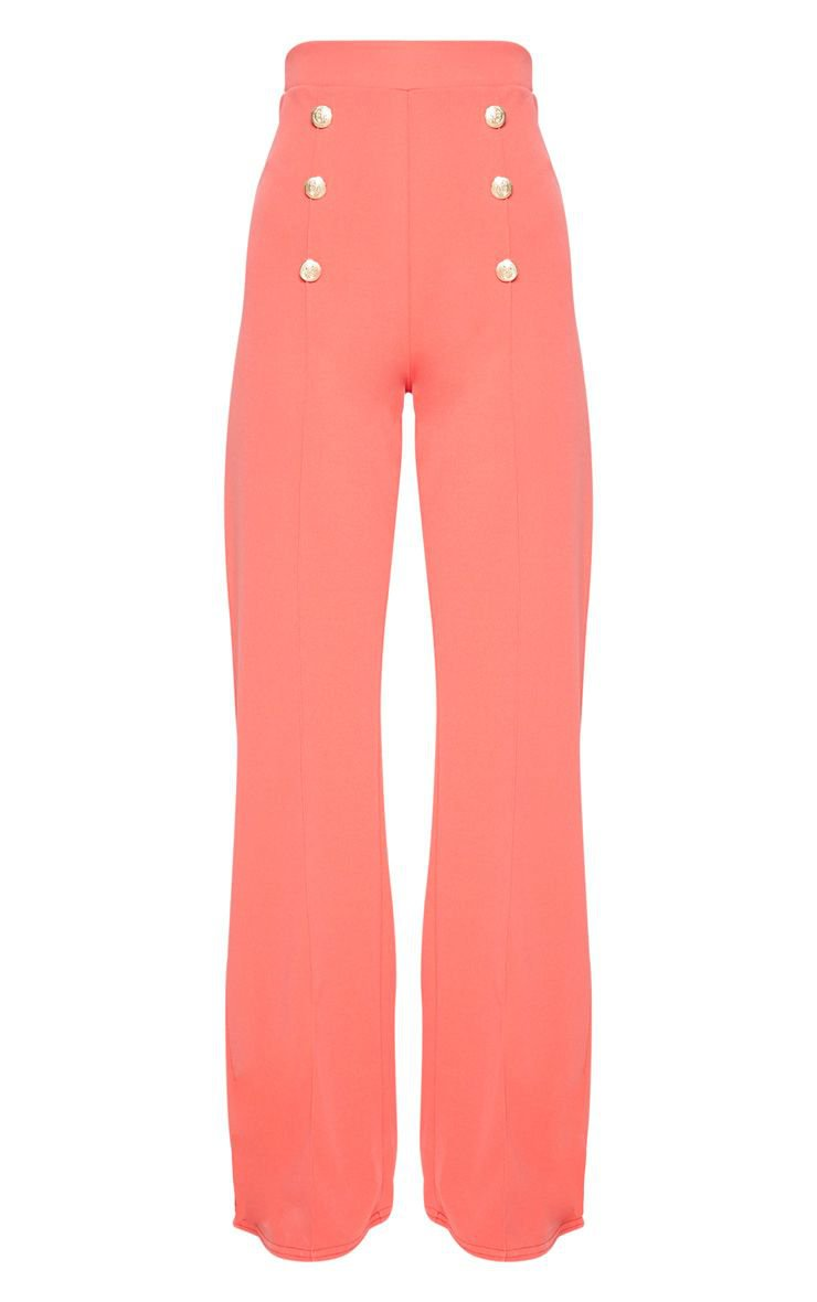 Coral Button Front Wide Leg pants | PrettyLittleThing USA