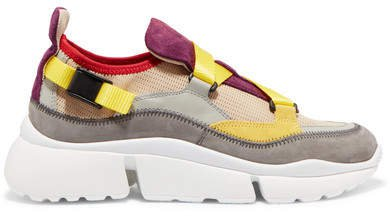 Sonnie Canvas, Mesh, Suede And Leather Sneakers - Beige