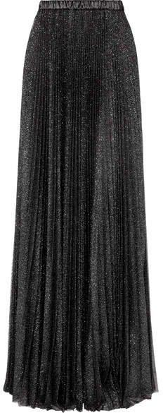 Pleated Glittered Tulle Maxi Skirt - Black