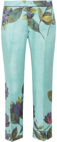 F.R.S For Restless Sleepers - Ceo Cropped Floral-print Silk-twill Straight-leg Pants - Mint