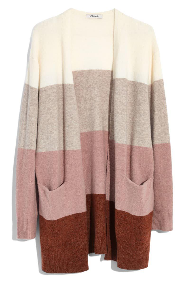 Madewell Ryder Stripe Cardigan Sweater cream burgundy