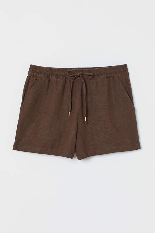 Linen-blend Shorts - Brown