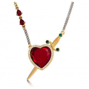 Disney Snow White Gold-Plated Red Crystal Heart & Dagger Necklace at Couture Kingdom UK