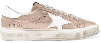 May Distressed Metallic Suede And Leather Sneakers
