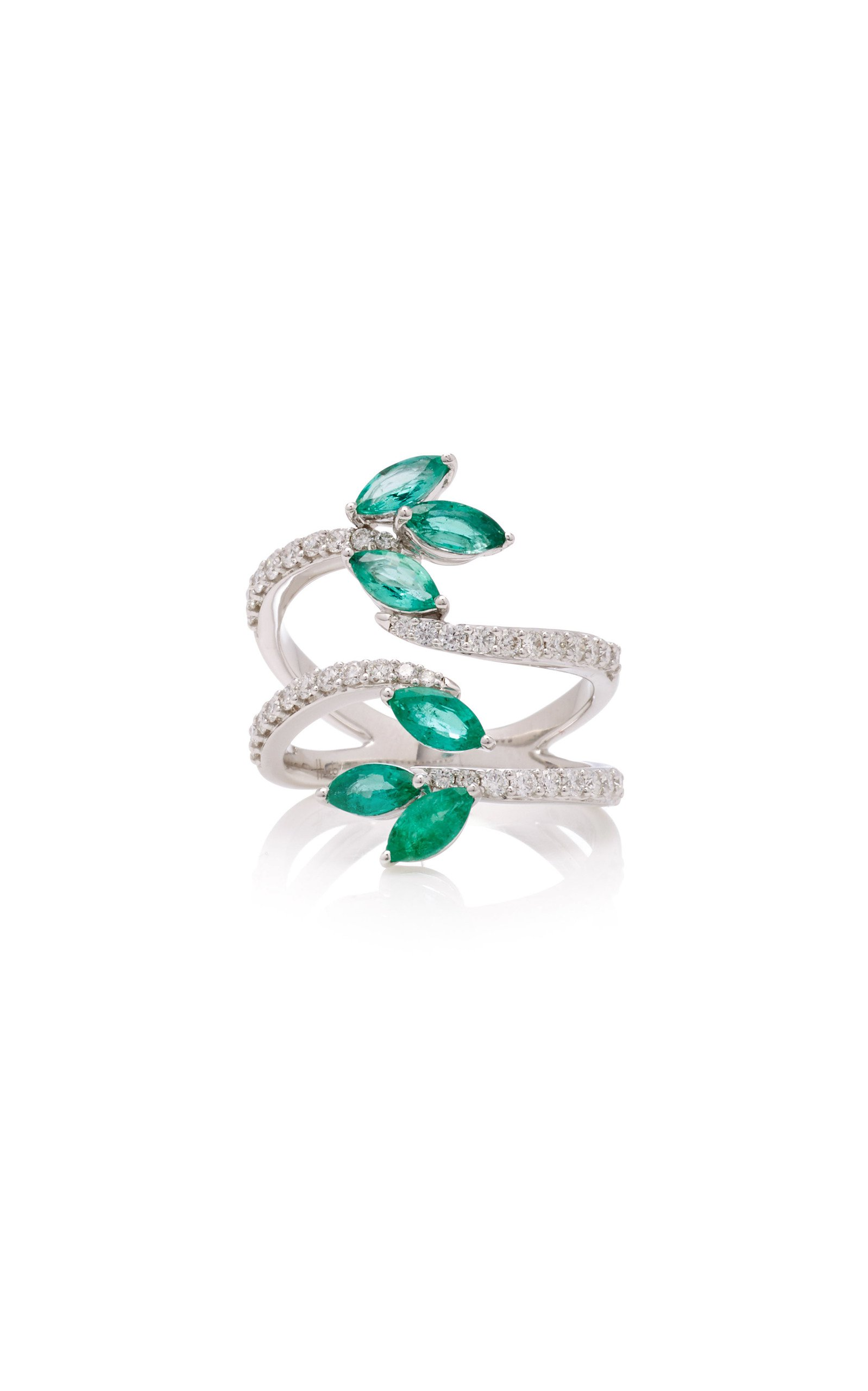 Hueb Exclusive 18K White Gold Emerald And Diamond Ring