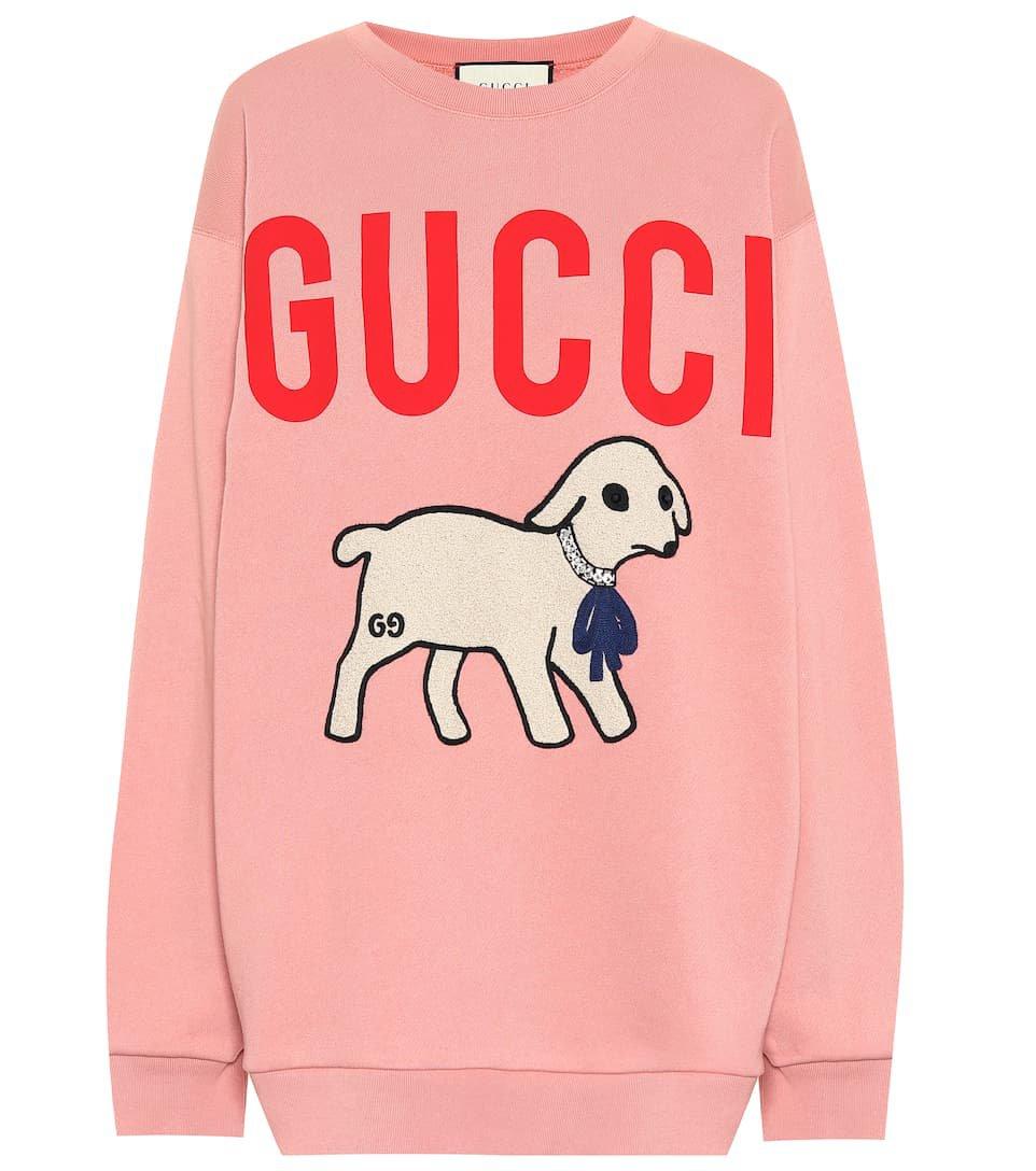 Appliquéd Logo Cotton Sweatshirt | Gucci - Mytheresa