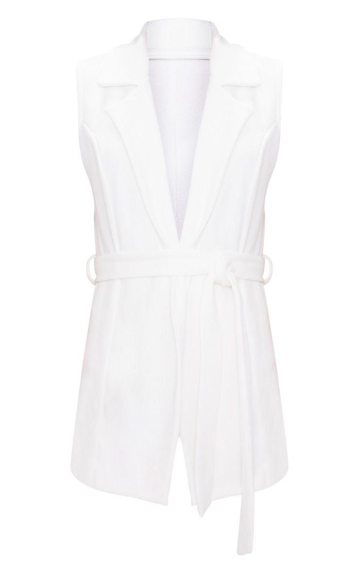 White Sleeveless Belted Blazer | PrettyLittleThing USA