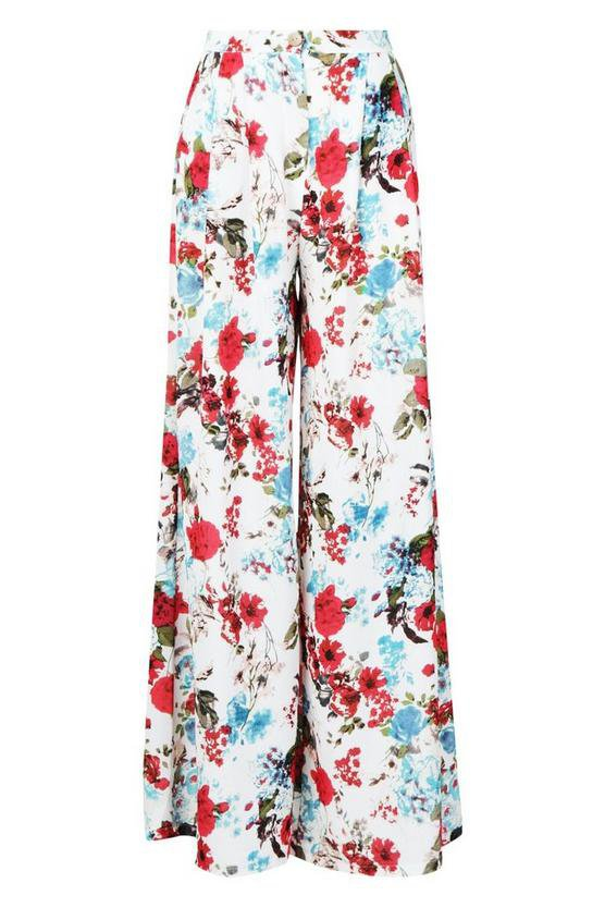 Woven Floral Wide Leg Trousers | Boohoo pink