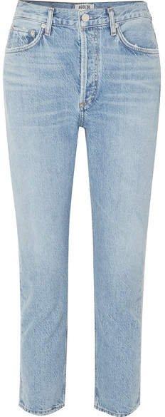 AGOLDE - Riley Cropped Organic High-rise Straight-leg Jeans - Light denim