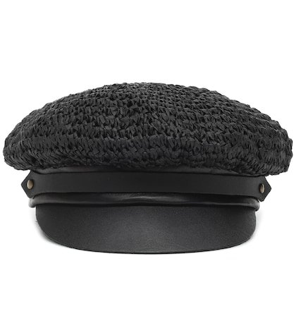 Chauffeur raffia and leather hat