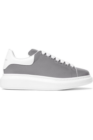 Alexander McQueen | Leather-trimmed reflective shell exaggerated-sole sneakers | NET-A-PORTER.COM