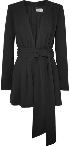 Belted Crepe Playsuit - Black