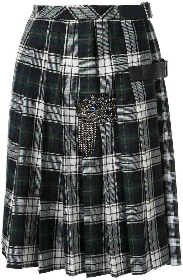 pleated plaid print skirt