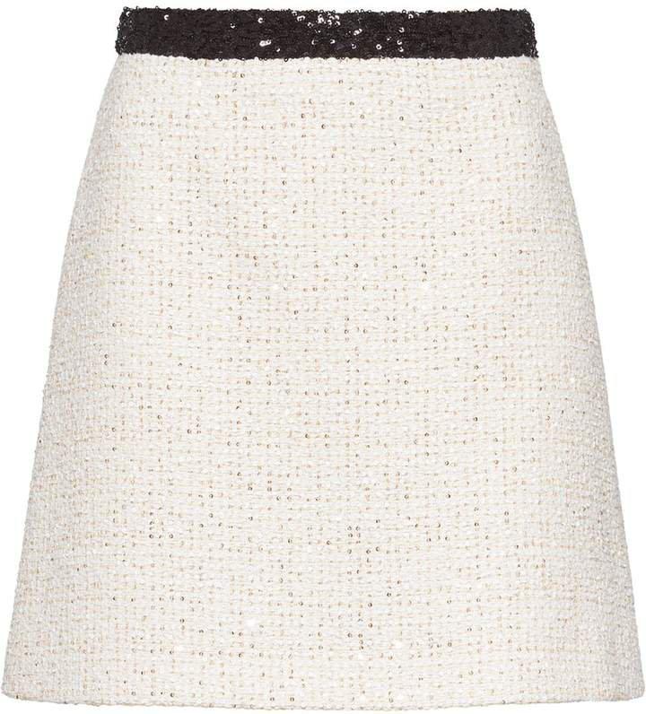sequinned tweed skirt