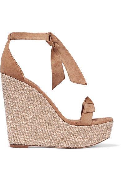Alexandre Birman | Clarita bow-embellished suede wedge sandals | NET-A-PORTER.COM