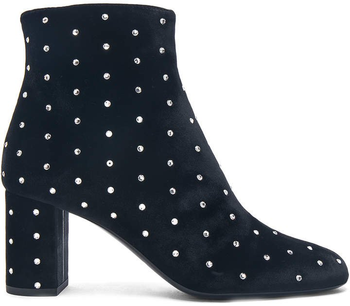 Crystal Embellished Velvet Loulou Pin Boots in Black | FWRD