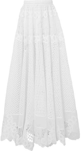 Broderie Anglaise Cotton Maxi Skirt - White