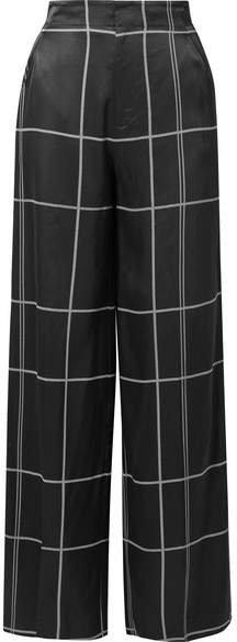 Berneen Checked Satin Wide-leg Pants - Black