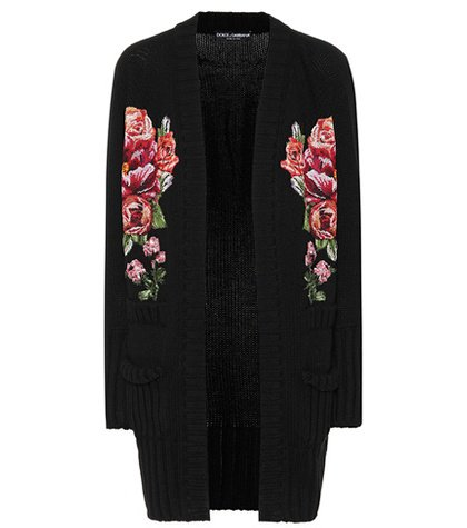 Floral-embroidered cashmere cardigan