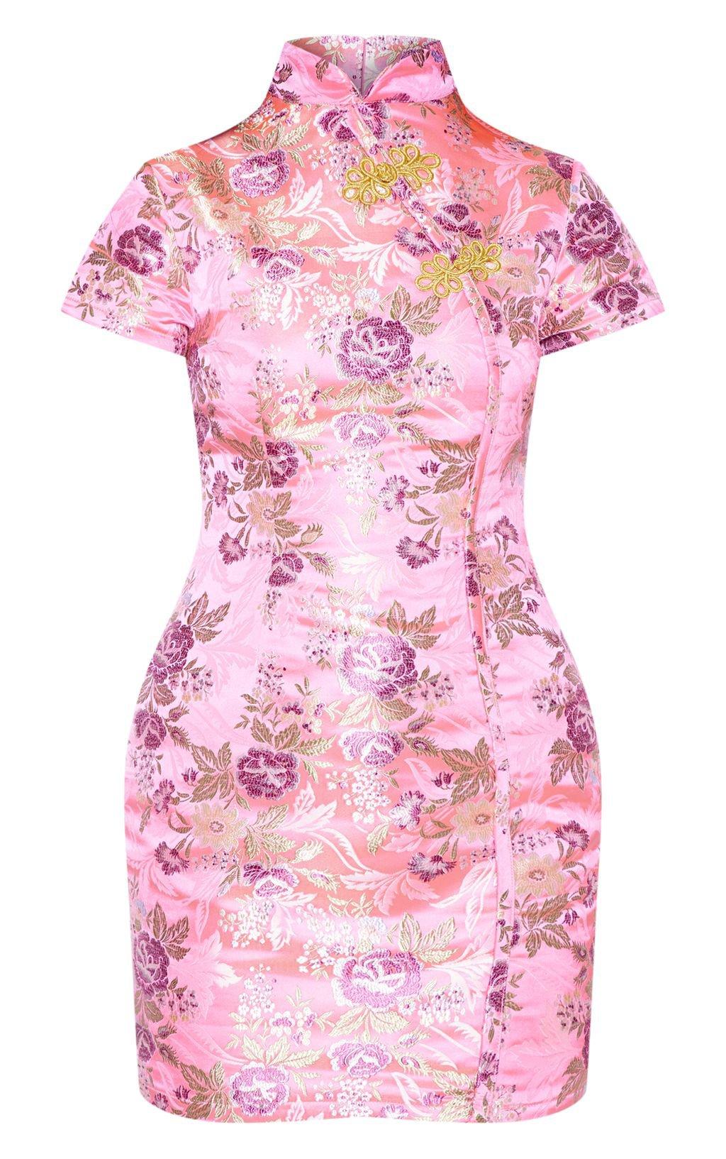 Pink Oriental Jacquard Bodycon Dress | PrettyLittleThing USA