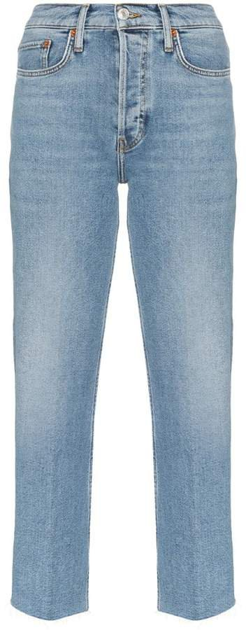 Stovepipe high-waist jeans