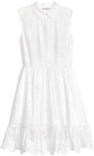 Embroidered Cotton Dress - White