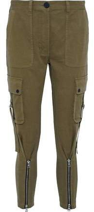 Zip-detailed Cotton-blend Twill Tapered Pants