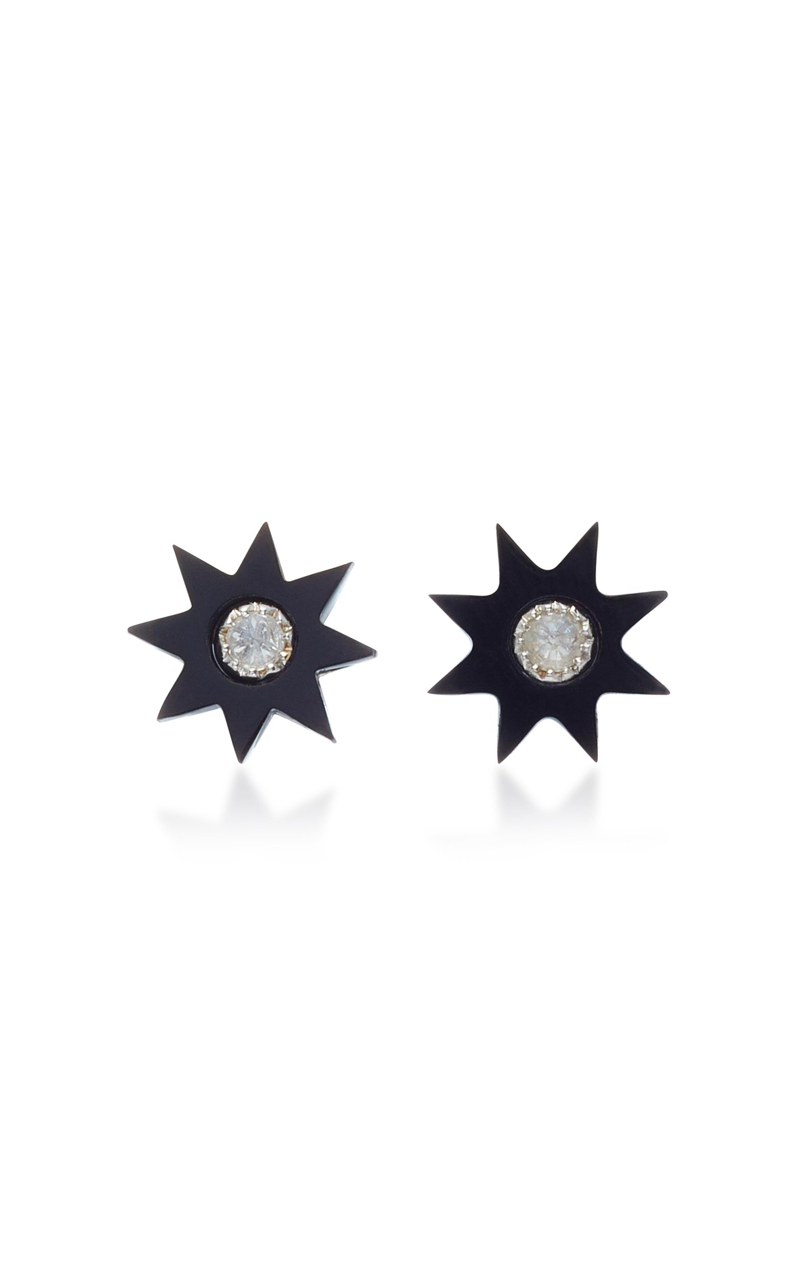 Colette Jewelry Starburst 18K White Gold Onyx and Diamond Earrings