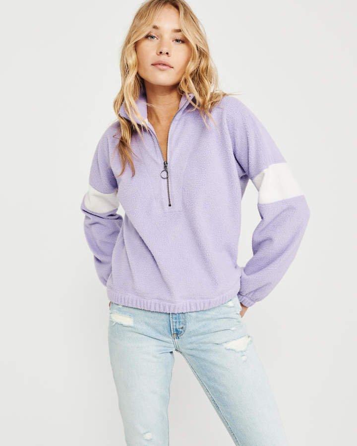 A&F Women's Colorblock Sherpa Half-Zip Sweatshirt in Light Purple - Size XL