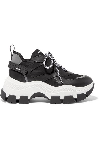 Prada | Nylon and leather sneakers | NET-A-PORTER.COM