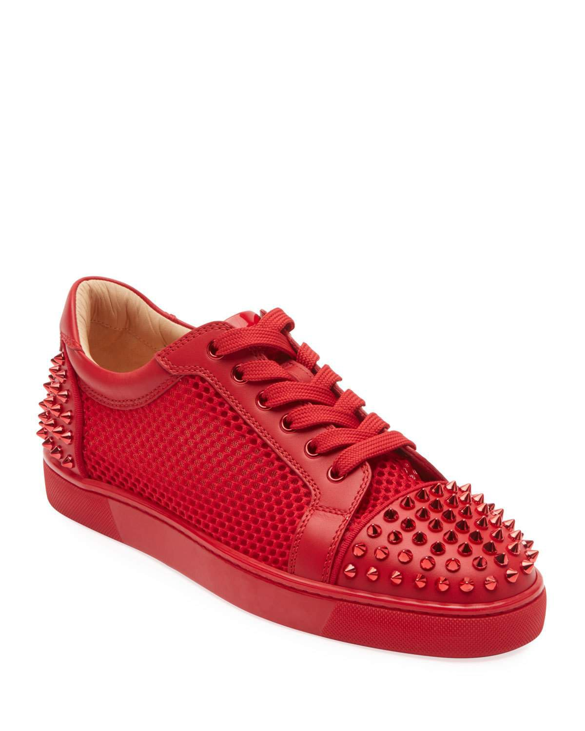 Christian Louboutin Seavaste Spiked Leather Low-Top Sneakers