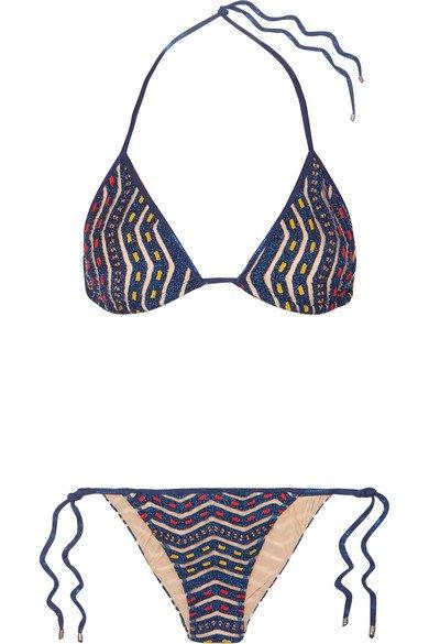 Missoni | Mare Donna metallic crochet-knit triangle bikini | NET-A-PORTER.COM