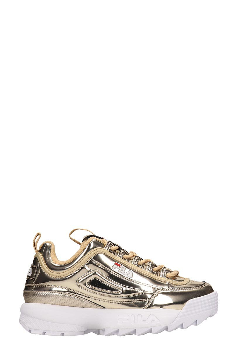 Fila Gold Laminated Leather Distruptor Low Sneakers
