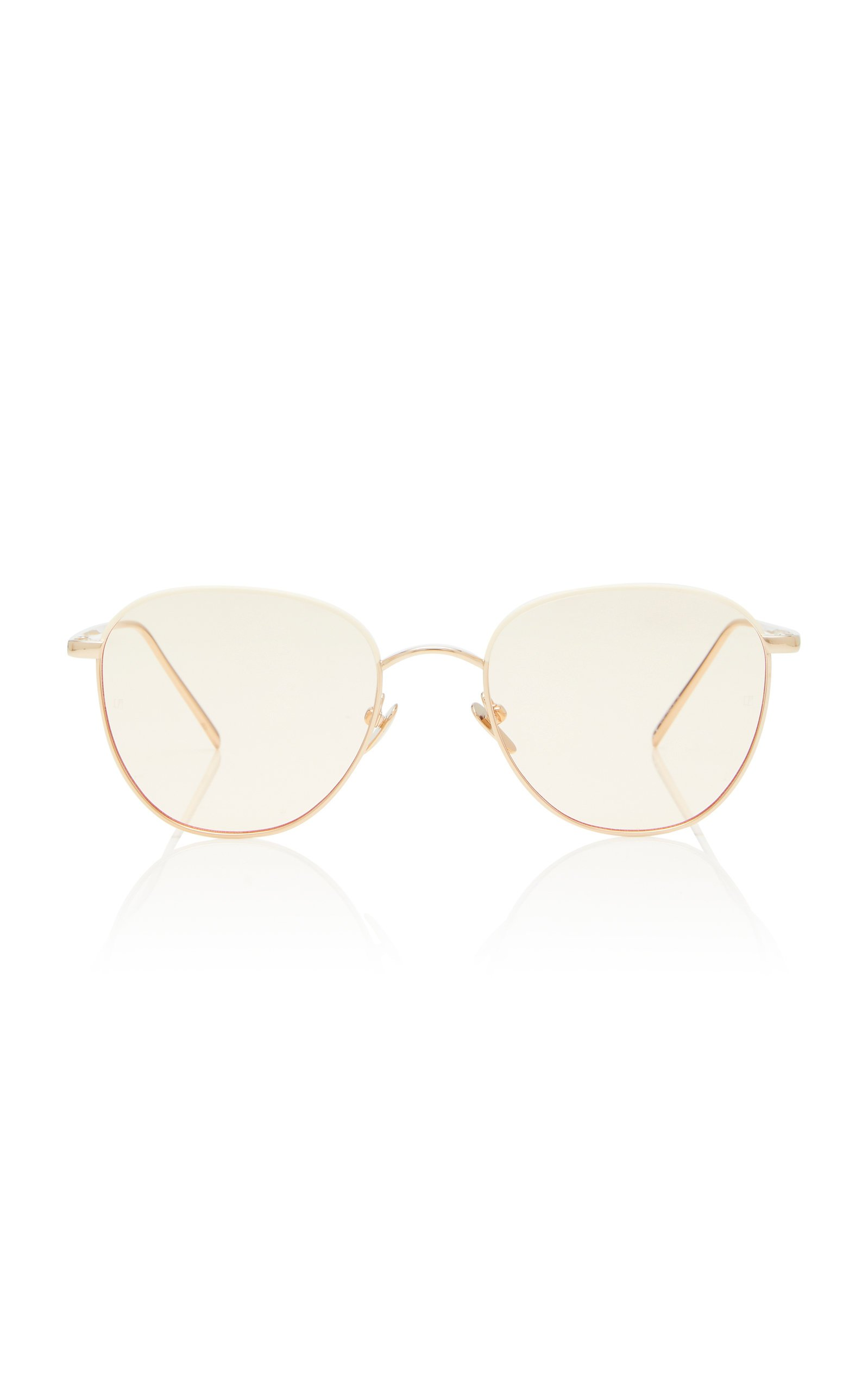 Linda Farrow Gold-Tone Metal Aviator Sunglasses