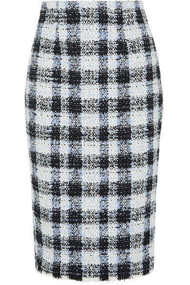 Alexander McQueen Checked bouclé-tweed midi skirt