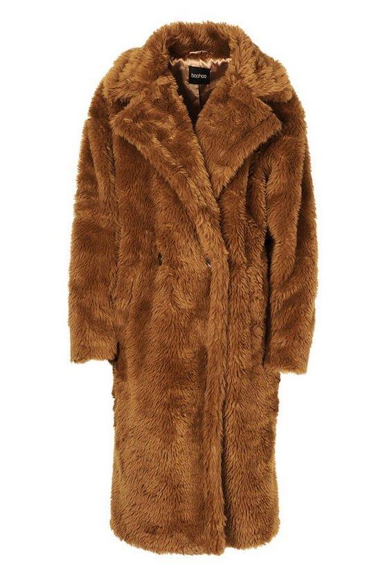 Oversized Teddy Faux Fur Coat | Boohoo brown