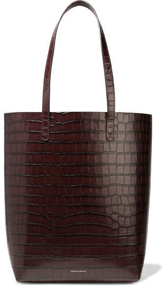 Everyday Croc-effect Leather Tote - Dark brown