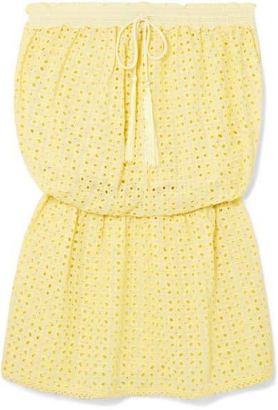 Adela Broderie Anglaise Mini Dress - Yellow