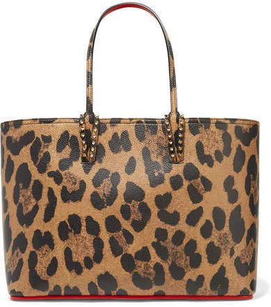 Cabata Spiked Leopard-print Textured-leather Tote - Leopard print