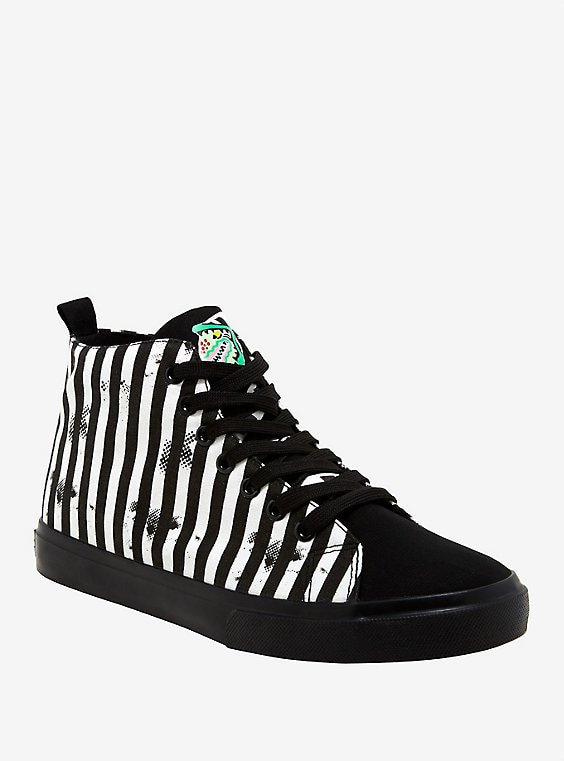 Beetlejuice Black & White Stripe Hi-Top Sneakers