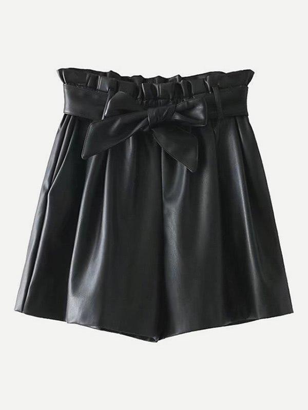 Frill Waist PU Shorts With Belt