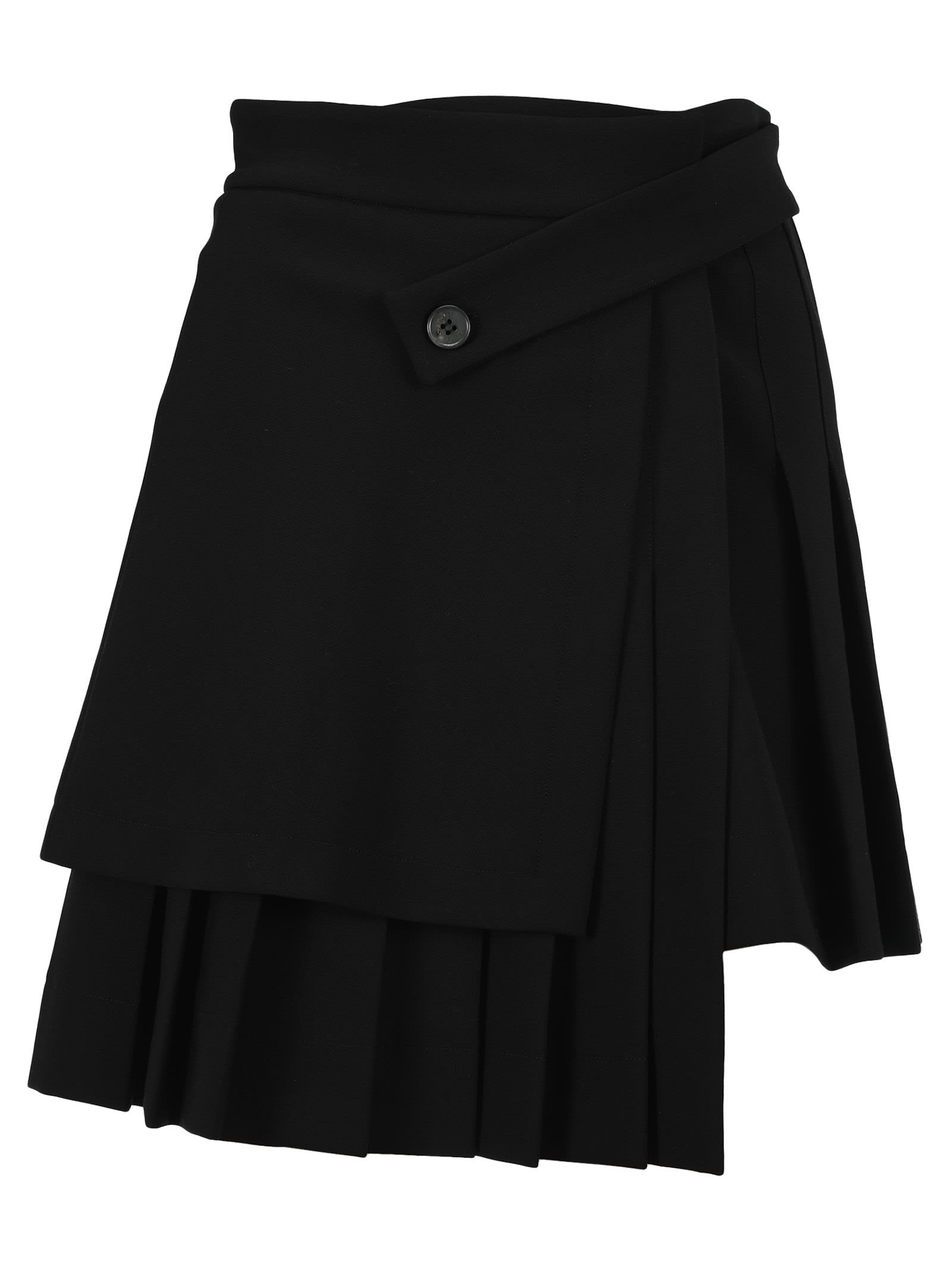 Off-White Off White Pleated Asymmetric Skirt